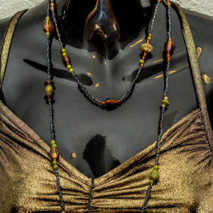 Long Mixed Beaded Earth Colour Necklace