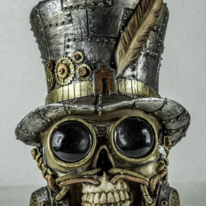 Skull head with goggles and top hat