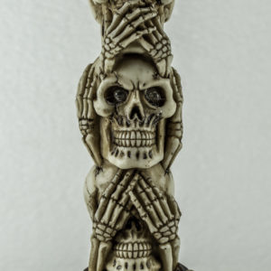 Skull ivory no evil ornament with light up eyes