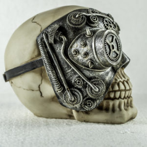 Skull ornament with cyber eyepiece