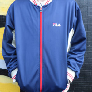 Blue and White Vintage Fila Track Top (Large)