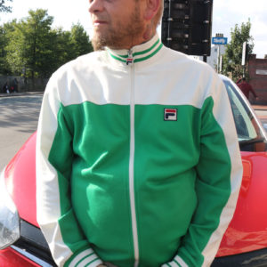 Green and White Vintage Fila Track Top(XXL)