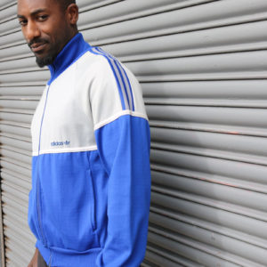 Grey and blue Adidas Track Top (medium)